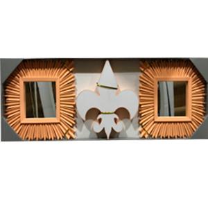 Juego de espejos con marco rectangular y decoración de Flor de Liz con luz led de 25cm