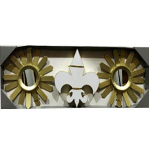 Juego de espejos con marco redondo diseño sol y decoración de Flor de Liz con luz led de 25cm