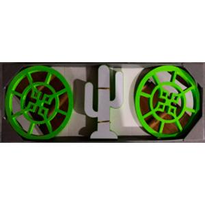 Juego de espejos con marco redondo verde y decoración de Cactus con luz led de 25cm