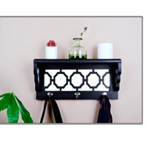Perchero de pared con repisa negro con espejo y 3 perchas de 47x13x20cm