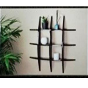 Decoración de pared con entrepaños de madera negra moderna
