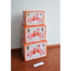 Baúl de madera diseño Flamingos de 60x40x42cm