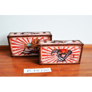 Baúl de madera diseño elefante de circo de 40x29x13cm