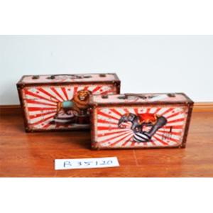 Baúl de madera diseño león de circo de 46x34x17cm