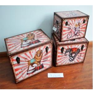 Baúl de madera diseño león de circo de 60x40x42cm