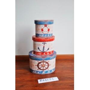 Caja redonda con tapa diseño timón de 39x30x24.5cm