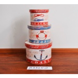Caja redonda con tapa diseño salvavidas de 27x27x27cm