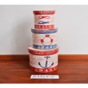 Caja redonda con tapa diseño ancla de 32x32x30.5cm