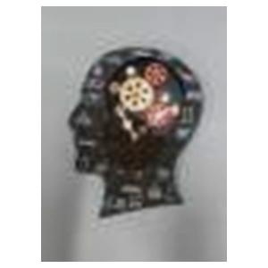 Reloj de pared diseño cabeza con engranes de 37x32x7cm