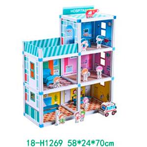 Hospital armable con accesorios para niños de 58x24x70cm