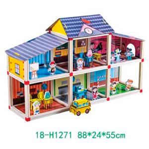 Escuelita armable con accesorios para niños de 88x24x55cm