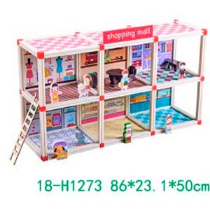 Mini Centro Comercial armable con accesorios para niños de 86x23x50cm