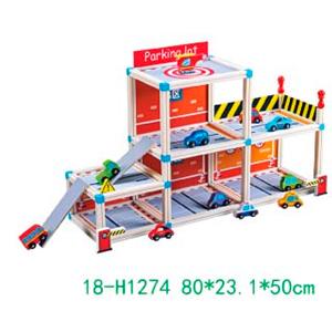 Estacionamiento armable con accesorios para niños de 80x23x50cm
