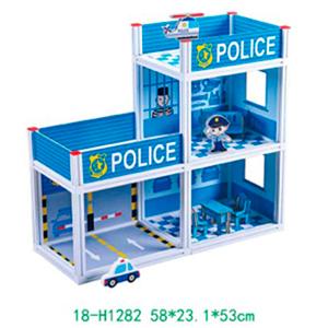 Estación de policía armable con accesorios para niños de 58x23x56cm