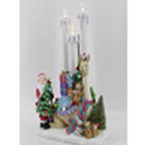 Santa con animales y velas con  luz led (usa baterias AAA) de 31x18x47cm