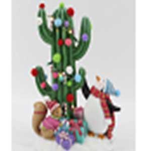 Cactus con esferas ya animales con luz led (usa baterias AAA) de 18x10x25cm