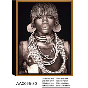 Cuadro diseño fotografía Africano en blanco y negro de 80x110x4