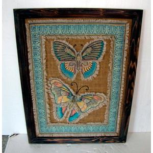 Cuadro de madera y yute diseño mariposas de 88x68x2.4cmcm