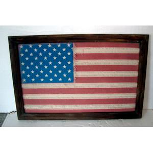Cuadro de madera y yute diseño bandera de EU de 88x58x2.4cm