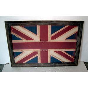 Cuadro de madera c/yute diseño bandera de Inglaterra de 88x58x2.4cm