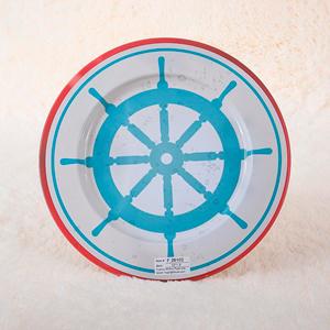Plato de presentación de metal estampado Timón color azul de 33x33x1.8cm
