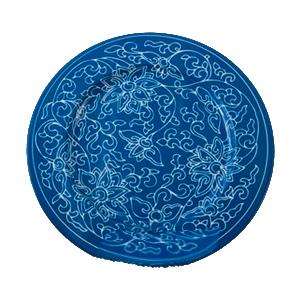 Plato de presentación de metal azul con flores blancas de 33x33x1.8cm