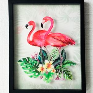 Cuadro diseño Flamingos y plantas de 30x39x3cm