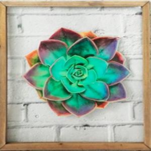 Cuadro de cristal con marco de madera diseño flor de loto de 33x39x2cm