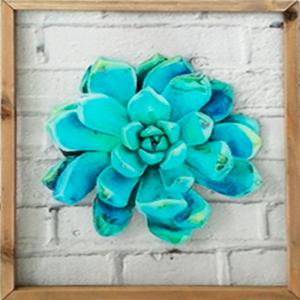 Cuadro de cristal con marco de madera diseño flor azul de 33x39x2cm