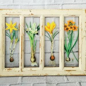 Marco rectangular de madera con y fotos de flores de 49x33x2cm
