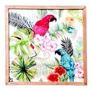 Cuadro diseño Aves y plantas de 39x39x2cm