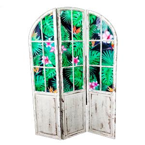 Cuadro diseño biombo con puertas y plantas de 39x175x2cm