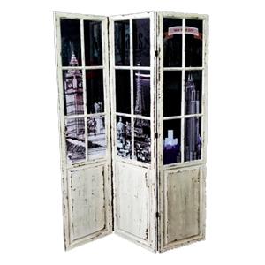 Cuadro diseño biombo con puertas y paisaje de 39.5x175.5x2cm