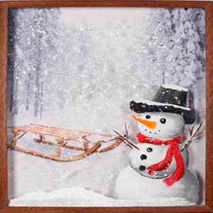Cuadro diseño Muñeco de nieve y trineo de 40x60x3cm