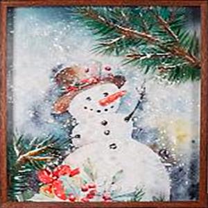 Cuadro diseño Muñeco de nieve y árboles de 40x60x3cm