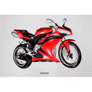 Figura de metal para pared diseño motocicleta roja de 118x86x10cm