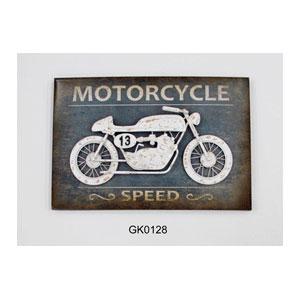 Cuadro de madera con Motocicleta blanca de metal en 3d de 62x42x8cm