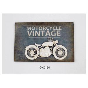 Cuadro de metal con Motocicleta blanca de metal en 3d de 62x42x8cm