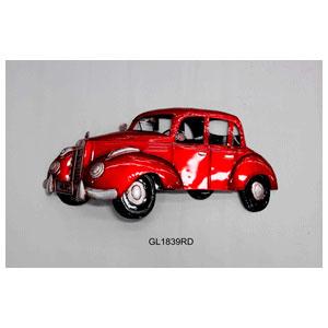 Figura de metal para pared diseño Auto antiguo rojo de 80x40x8cm