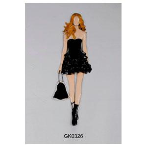 Figura de metal para pared diseño mujer con bolsa de 28x82x4cm