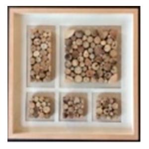 Cuadro con diferentes tipos de madera de 60x60x4cm