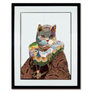 Cuadro diseño gato con traje de 72x90x4cm