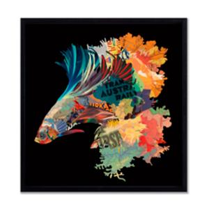 Cuadro diseño Ramo de Flores diseño pescados de 65x65x3cm