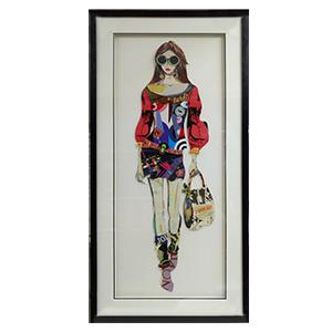 Cuadro diseño Mujer hecho con recortes de 50x100x3cm