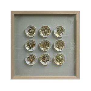 Cuadro diseño 9 Círculos en color dorado de 60x60x4cm