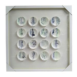 Cuadro diseño 16 Cirulos en colores de 70x70x4cm