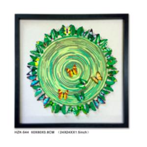 Cuadro diseño Circulo con Mariposas Verdes de 60x60x3.8cm