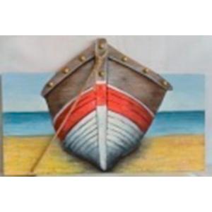 Cuadro de madera diseño Lancha roja/blanco en 3D de 60x90x2.5cm