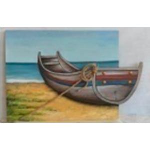 Cuadro de madera diseño Lancha azul/blanco en 3D de 60x90x2.5cm