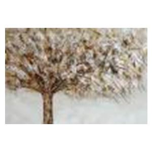 Cuadro diseño árbol con hojas plateadas de 60x90x3cm